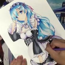 【视频】动漫女主雷姆马克笔手绘视频教程 可爱的女仆装少女