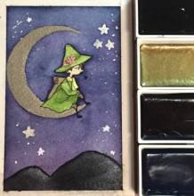 【视频】可爱唯美有意境的坐在月亮上的小巫师水彩手绘视频教程 萌萌达