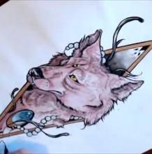 【视频】很美很酷的三眼妖狐纹身图案水彩手绘视频教程