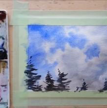 【视频】简单意境的蔚蓝天空森林树木水彩手绘视频教程 小清新天空画法