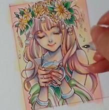 【视频】头戴鲜花捧着茶杯的唯美少女手绘视频教程马克笔上色好看
