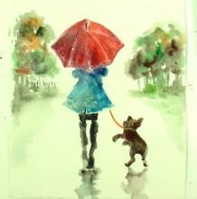 【视频】雨天打着红色伞的女孩背影与狗唯美意境水彩手绘视频教程