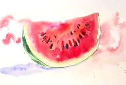 【视频】简单好看的西瓜水彩画手绘视频教程 切开的一瓣西瓜水彩画法