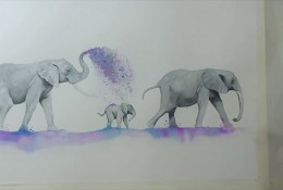 【视频】唯美的大象一家水彩手绘视频教程 大象爸爸妈妈带着小象水彩画画法