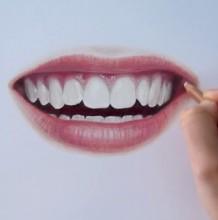 【视频】性感红唇洁白整齐好看的牙齿写实彩铅手绘视频教程 笑意露齿的嘴唇