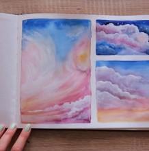 【视频】很唯美的天空云朵水彩手绘视频教程 色彩很暖治愈的天空云朵画法