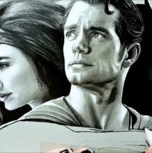 【视频】彩铅画写实超人+蝙蝠侠+神奇女侠黑白动漫插画手绘视频教程
