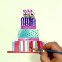 【视频】超简单的蛋糕水彩画手绘视频教程 简单好看的蛋糕的水彩画法