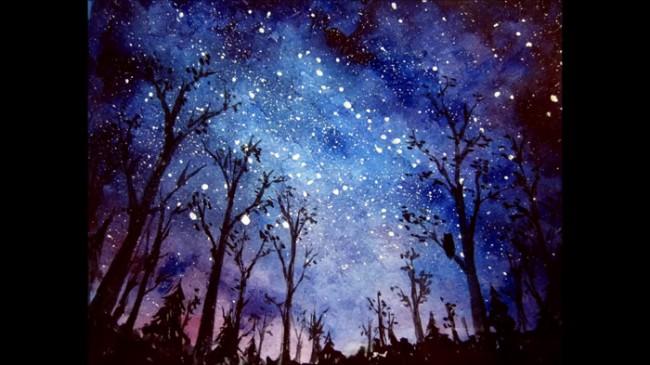 【视频】很有感觉的黑夜星空下的森林意境水彩画手绘视频教程图片