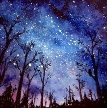【视频】很有感觉的黑夜星空下的森林意境水彩画手绘视频教程