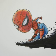 【视频】超可爱的Q版蜘蛛侠马克笔搭配彩铅手绘视频教程 蜘蛛侠的画法