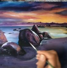 【视频】非常有意境的沙滩海水与礁石的唯美水彩画手绘视频教程画法
