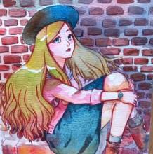 【视频】靠着墙坐着的女生唯美水彩手绘视频教程 红砖墙下带着帽子穿裙子的
