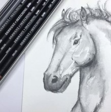 【视频】黑色水溶彩铅画帅气马头单色素描手绘视频教程 马的画法