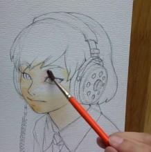 【视频】带着耳机听歌的短发女生水彩手绘视频教程 简单小清新气质女生