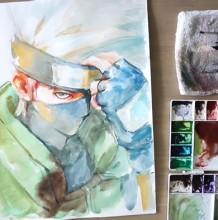 【视频】动漫火影旗木卡卡西帅气水彩手绘视频教程 卡卡西的画法图片