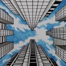【视频】一点透视教学 画仰视图的建筑效果图手绘视频教程 针管笔搭配马克笔