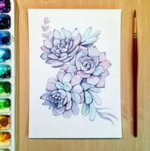 【视频】非常美的三朵多肉植物水彩花卉手绘视频教程 唯美有意境的多肉水彩