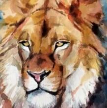 【视频】好看有威严的狮子水彩手绘视频教程 教你画狮子水彩画 头部重点