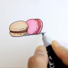 【视频】简单的马卡龙马克笔简笔画手绘视频教程 小清新美食手绘