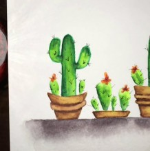 【视频】唯美而简单的带花盆的仙人掌水彩手绘视频教程 几盆仙人掌的画法
