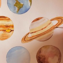 【视频】很简单可爱的太阳系行星水彩画手绘视频教程 星球的简单画法