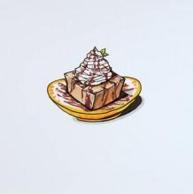 【视频】可爱迷你装在盘子里的巧克力奶油蛋糕简笔画手绘视频教程