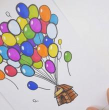 【视频】飞屋环游记简笔画手绘视频教程 气球吊着小屋子很可爱简笔画