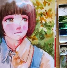 【视频】超可爱的蘑菇头小女孩水彩手绘视频教程 光感非常好