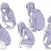 动漫插画女生蹲着的姿势参考图 蹲下的女孩姿势怎么画画法