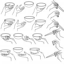 常见各种手拿物品姿势的参考图 手拿杯子、筷子、勺子的画法图片