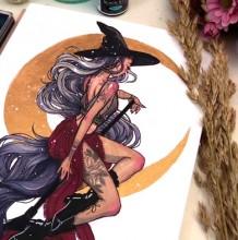【视频】很有感觉骑着扫帚的魔法美少女水彩手绘视频教程 月亮做背景 性感唯
