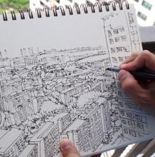 【视频】很强悍的城市建筑风景钢笔速写手绘视频教程 景观效果图线稿