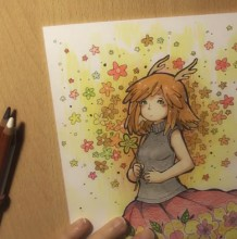 【视频】长着可爱鹿角的少女彩铅手绘视频教程 鲜花美少女可爱插画