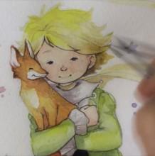 【视频】简单的小王子水彩手绘视频教程 抱着小狐狸的小王子水彩画教程
