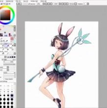 【视频】可爱又性感的兔女郎魔法美少女SAI板绘视频教程 服饰很漂亮