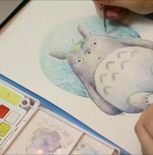 【视频】可爱的龙猫水彩画手绘视频教程 教你画好看的龙猫水彩卡通画