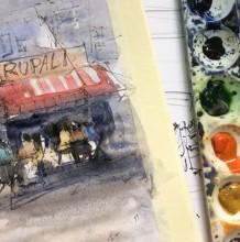 【视频】很意境的便利店门头小景水彩风景画手绘视频教程 比较写意唯美