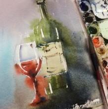 【视频】好看的红酒瓶与红酒杯水彩手绘视频教程 唯美的红酒水彩画