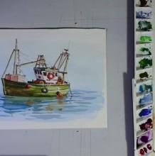 【视频】逼真好看的渔船水彩手绘视频教程 教你画水面上的渔船