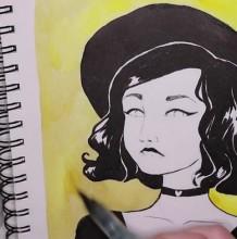 【视频】很有感觉的黑白美女插画手绘视频教程 带帽子的气质女生水彩