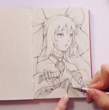【视频】非常可爱的动漫美少女线稿手绘视频教程 大蝴蝶结辫子超可爱