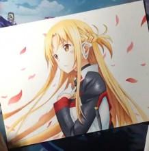 【视频】刀剑神域結城明日奈动漫女生人物插画手绘视频教程 马克笔上色精美