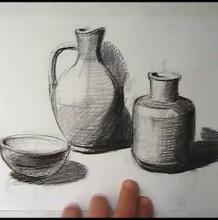 【视频】陶瓷罐子、陶瓷碗瓶素描组合静物手绘视频教程 教你画陶瓷素描调子