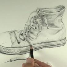 【视频】高帮帆布运动鞋素描手绘视频教程 打形体上调子示范视频