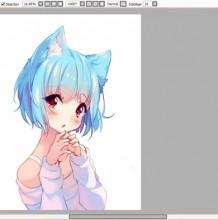 【视频】可爱的猫耳娘动漫女生SAI板绘插画视频教程 呆萌的猫儿宠物小女生动