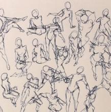 【视频】不同姿势的动漫插画人物线稿演示视频教程 人物动态姿态形态的画法