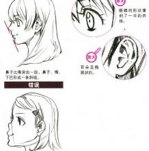 动漫插画人物的侧面五官的斜侧面怎么画教程 不是正面角度脸部头部画法教程