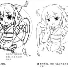 Q版动漫画人物如何构图 正确比例线稿从零画给你看 一只可爱小天使