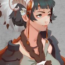 美丽的兽人族美少女SAI板绘教程步骤图片 从线稿到上色 长着角的少女